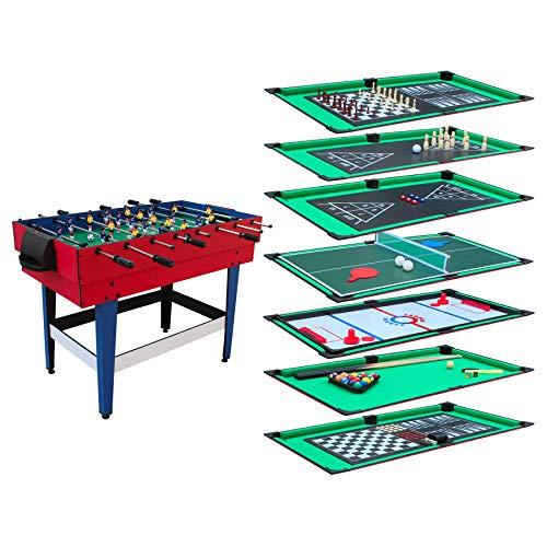Table Multi-Jeux 12 en 1 avec Plateaux de Jeux modulables, Billard, Babyfoot, Ping-Pong, Hockey..