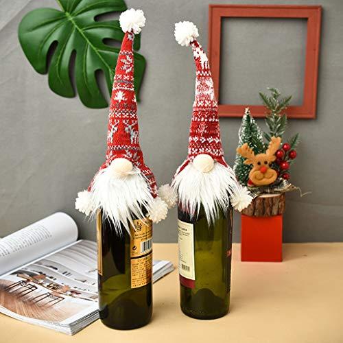 xzbnwuviei Weihnachtliche gesichtslose Puppe, gestrickte alte Weinflaschen-Abdeckung, Weihnachtswichtel, Champagner, Rotwein-Flaschenaufsatz, handgefertigt, schwedische Tomte-Dekoration