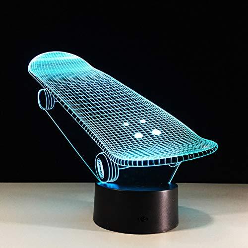 Limhua Skateboard Led 3D Nachtlicht Bunte Led Tisch Schreibtischlampe Abbildung Kinder Schlafen 3D Lampe Als Baby Kind Spielzeug Geschenk,Bluetooth-Lautsprecher