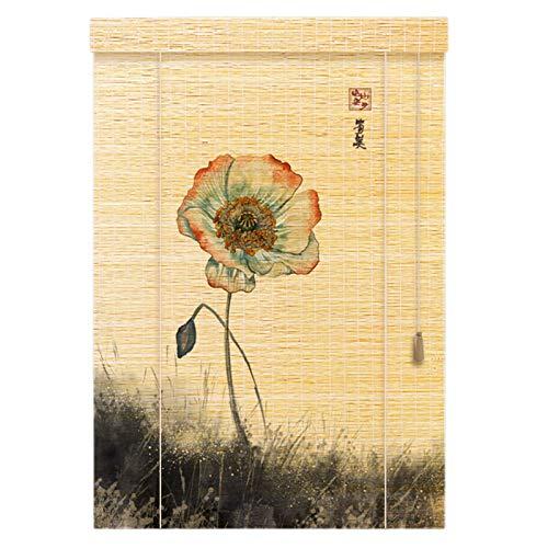 Lqdp Estores Enrollables Persianas Enrollables de Bambú para Interiores con Estampado Floral, 70cm/90cm/110cm/130cm Ancho, Caída 90cm/120cm/160cm/200cm/220cm/260cm Persianas Enrollables Rústicas