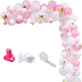 100pcs Pink White Gold Butterfly Balloons Arch Garland Kit, 12