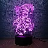 Solo 1 pieza Lámpara de escritorio romántica para bebés y niños 3D USB LED Lámpara para dormir Mesa Luz de noche Hogar Dormitorio infantil Decoración Juguete para niños Regalo de cumpleaños de Navidad