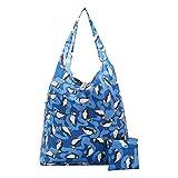 Eco Chic - Bolsa de la compra plegable y reutilizable, Plástico reciclado., azul, talla única