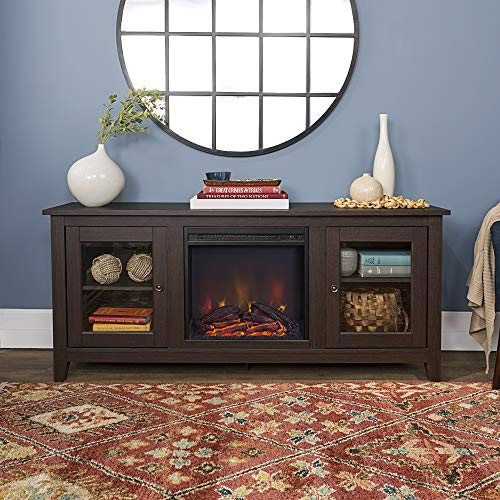 Home Accent Furnishings Lucas 58 inch Fireplace Tv Stand with Glass Doors in Espresso