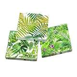 Home Collection Casa Cucina Decorazione Accessori Set 60 Tovaglioli Monouso Carta 3 veli 33 x 33 cm Motivo Foglie Monstera Philodendron Palma Tropicale