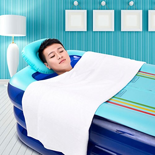 Aufblasbare Badewanne Erwachsene verdickt Wanne faltbar Badewannenlauf Badewannenfass aus Kunststoff Badewanne übergroß verlängert blau pink Badehaus ( Color : Blue )
