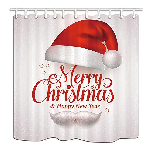 Christmas Decor Duschvorhang von KOTOM Frohe Weihnachten Titel Typografie Vektor-Konzept in rot mit Weihnachtsmütze und Santa White Bart Bad Vorhänge, 69X70 Zoll