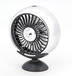 RONSHIN Mini Fans 12V Electric Car Fan 360 Degree Rotatable Car Auto Cooling Air Circulator Fan Center Console Silver + Air Outlet Can Be Rotated