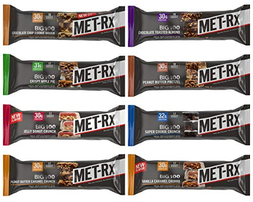 MET-Rx Big 100 Colossal Protein Bars, Great as Healthy Meal Replacement, Snack, and Help Support Energy, Gluten Free, Variety Sampler Pack, 8 Flavors,
