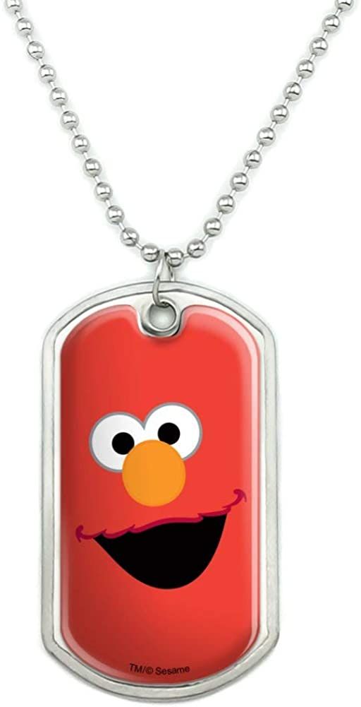 GRAPHICS & MORE Sesame Street Elmo Face Military Dog Tag Pendant Necklace with Chain