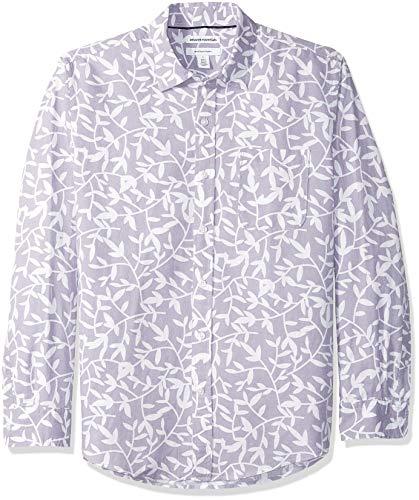 Amazon Essentials, Herren-Langarmhemd aus Leinen, normale Passform, Lavendar Leaf Print, M