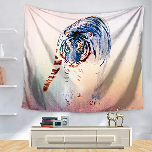 African Animals Pattern Colored Wolf Polyster Tapestry Wall Hanging Beach Picnic Yoga Rug Living Room Decor 150x170CM