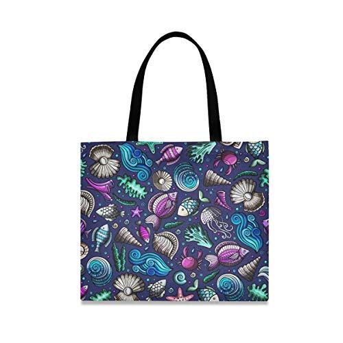 Joy Pesce Guscio Borsa per Spesa Rutilizzabile Shopper Bag Tote Ecocompatibile Durevole Shopping Tote Pieghevole Borse per Le Donne Ragazze