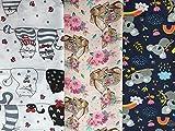 Tela de algodón con forma de corazón de Austria Kitty, paquete de 3 unidades de 50 cm x 160 cm, osos coalabares, gatos, ratones y raya | no se vende por metros – tela infantil para niñas