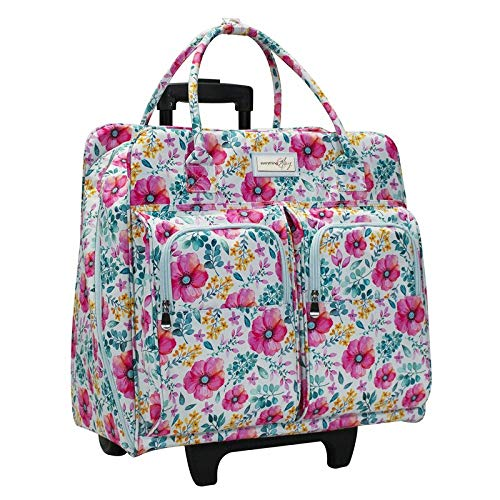 Everything Mary Deluxe Portable Rolling Sewing Machine Case, Spring Floral - Carrying Travel Tote Bag for Brother, Singer, & Most Machines - Storage Cart with Wheels for Supplies & Accessories