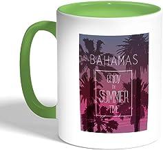 كوب سيراميك للقهوة بتصميم تمتع بالصيف ، لون اخضر