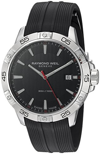 Men's Tango Stainless Steel Swiss-Quartz Watch with Rubber Strap, Black, 19 (Model: ) - Raymond Weil 8160-SR2-20001