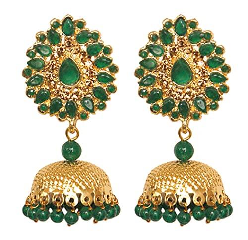 Pahal tradicional Jadau verde Kundan perla grande oro Jhumka pendientes indios Bollywood joyería nupcial para mujeres