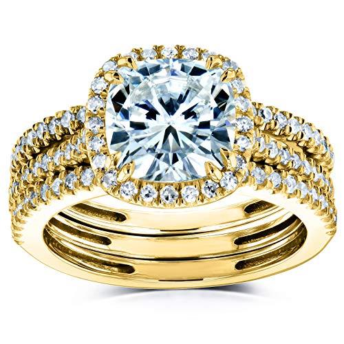 Kobelli Cushion Brilliant Moissanite Halo Bridal Wedding Rings Set 2 1/2 CTW 14k Yellow Gold (DEF/VS, GH/I), 7