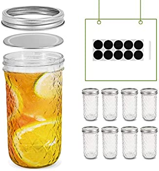 8-Pack 24oz Quilted Crystal Canning Mason Jars with Lids