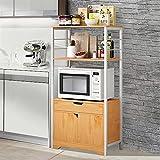 SQL Gabinete de Almacenamiento de Cocina Multifuncional Gabinete de Piso Double Puerta Muebles domésticos Muebles de Cocina Cabineta Aparador Buffet Gabinete (Color : Khaki)