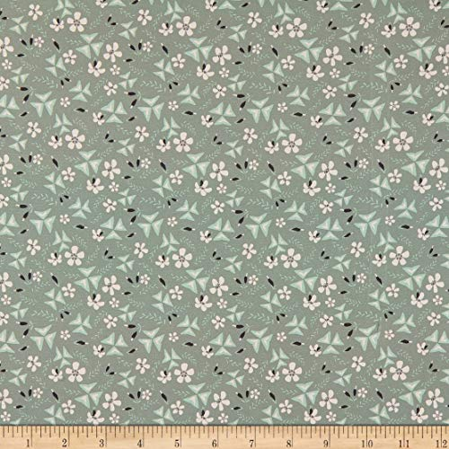 Fabric Merchants Marketa Stengl Double Brushed Stretch Poly Jersey Knit Shamrock Floral Ditsy Olive/Peach, Fabric by the Yard