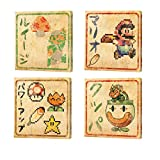 Retail Sales Solutions Super Mario Bros 8 Bit Japanese Canvas Wall Art Bundle, 6x6 inch - Luigi, Mario, Bowser, Power Ups