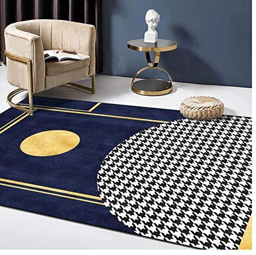 Alfombra Dorada Azul Oscuro Alfombras geométricas de Pata de Gallo 3D para Sala de Estar, Dormitorio, Sala de Estar, Alfombra para el Piso del hogar