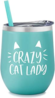 Crazy Cat Lady | 12 Ounce Stainless Steel Insulated Tumbler with Lid and Straw | Cat Lover | Cat Themed | For Cat Mom | For Cat Dad