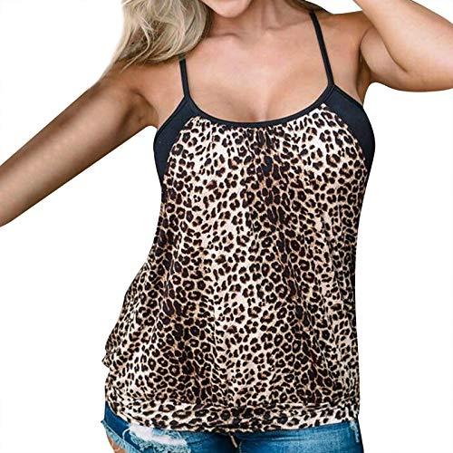 KYZRUIER Blusa sin mangas de bloque de color leopardo para mujer, blusa casual holgada de ajuste O cuello túnicas