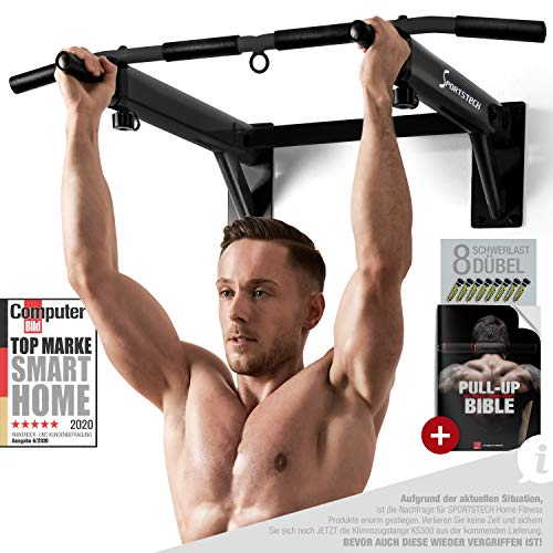 Sportstech 4in1 Pull-up Bar KS300 Wall Mounted Chin Up Bar, 3 eyelets for TRX & punching...