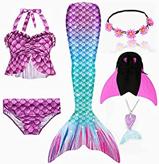 6PCS/Set Rainbow Style Mermaid Tail Swimsuit With Fin For Kids Girls Holiday Dress Costume Bathing Swimuit (Color : MULTI,...