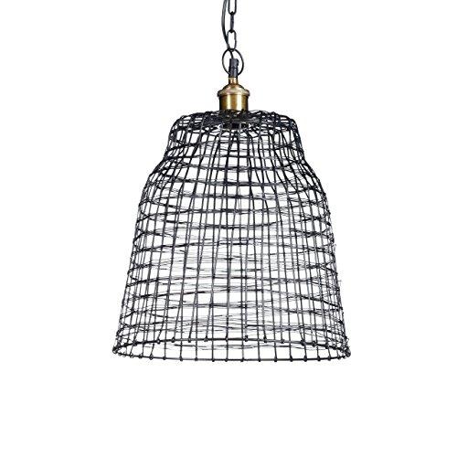 Relaxdays Luminaire lampe à suspension métal HxD: environ 154 x 35 cm cloche grille cage acier fer forgé design moderne, noir