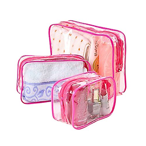 Kentop Lot de 3 trousses de maquillage de voyage portables étanches et transparentes avec grande capacité (rose)