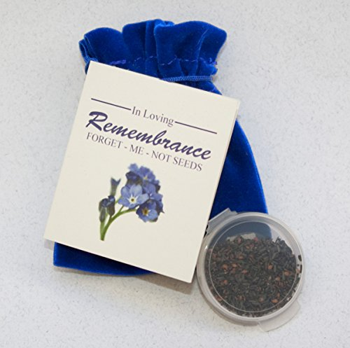 Forget-me-not seed Packets in Velvet Pouches - Funeral Favor or Funeral Gift - Personalized Plantable Celebration of Life (50)