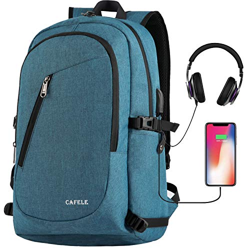 Cafele Laptop Backpack,Travel Computer Backpack for Women & Men,Anti Theft Water Resistant College Student School Bookbag,Slim Backpack w/USB Charging Port Fits up to15.6 Inch Laptop Notebook,Blue