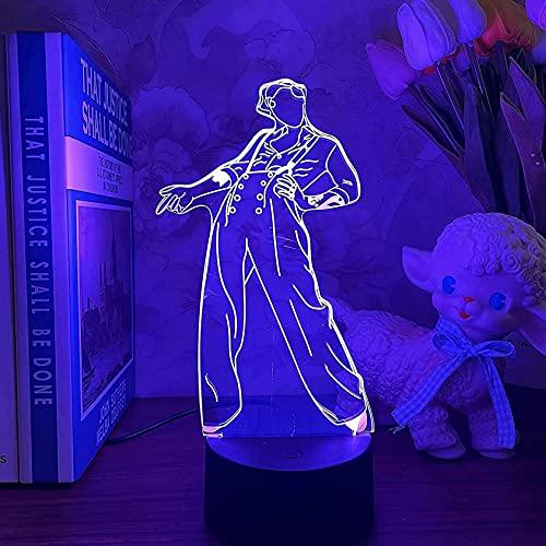 Gevo Apan Luz de noche 3D Anime japonés Ilusión Lámparas de decoración LED Luz de noche 3D Lámpara de Harry Styles Regalo para fanáticos Luz de dormitorio Sensor táctil LED Lámpara de escritorio