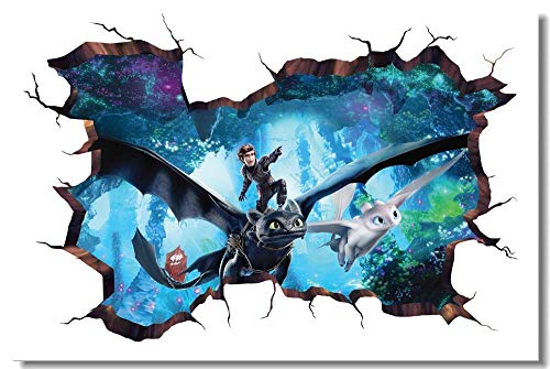 Wall Sticker custom Printed Murals How To Train Your Dragon 3 Poster Httyd 3D Wall Sticker s Wallpaper Toothless Living Room Decal Premium Canvas_30X45Cm