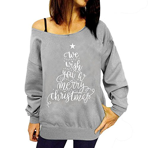 Price comparison product image Moginp Fashion Womens Winter Merry Christmas Santa Claus Printed Blouse T-Shirt Ladies Cold Off Shouder Sweatshirt Xmas Tree Pullover Casual Tops (Gray A,  S)