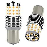 AGLINT P21W LED Bombilla CANBUS Sin Hiper Flash 1156 382 BA15S 42SMD 12V 24V para Automóvil Luces Traseras Atrás Luz de Señal de Giro Luz Diurnas Luces Ámbar Amarillo 2 Piezas