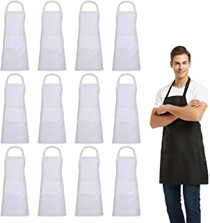 DUSKCOVE 12 PCS Plain Bib Aprons Bulk - White Commercial Apron with 2 Pockets for Kitchen Cooking Restaurant BBQ Painting Crafting
