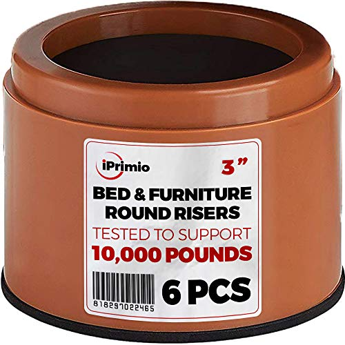 """iPrimio Bed and Furniture Risers – 6 Pack Brown Round Elevator up to 3"""" & Lifts Up to 10,000 LBs - Protect Floors and Surfaces – Durable ABS Plastic and Anti Slip Foam Grip – Non Stackable"""