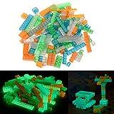 Bloques de juguetes – piezas de construcción que brillan en la oscuridad. De varios colores, compatibles, a medida y testados. Fosforescentes hasta una hora. (104 piezas)