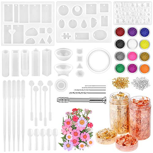 Resin Jewelry Making Kit, Thrilez 131 Pcs Resin Mold Kit with Silicone Resin...