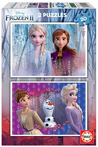 Educa Borrás 2 puzzles infantiles, 20 piezas, Frozen II, a partir de 36 meses, color variado, 2 x 20 (18109) , color/modelo surtido