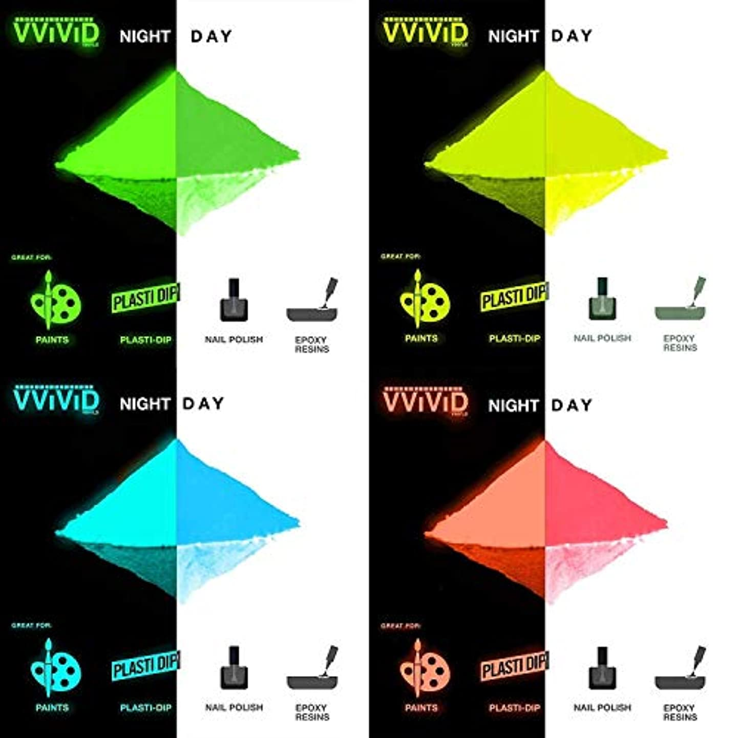 VViViD Prisma65 Glow in The Dark Pigment 30g Packet Multi Color Pack (4 Color Pack)