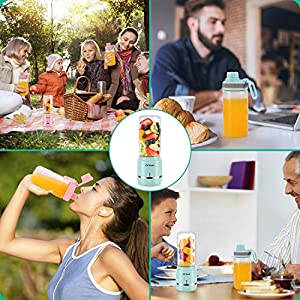 iOCSmart Portable Personal Size Blender, USB Rechargeable Mini Fruits Juicer Blender for Shakes and Smoothies with 2 Juicer Cup Glass, 4000mAh High Capacity Batteries (Blue)