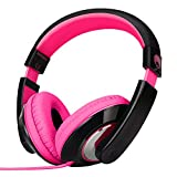 Rockpapa Comfort Stéréo Casque Audio DJ, sur Les Oreilles, Poids Léger pour Enfants/Adultes, Ordinateur Tablette Huawer Samsung Lenovo YOTOPT vankyo, iPad TV MP3/4 CD/DVD Noir Rose