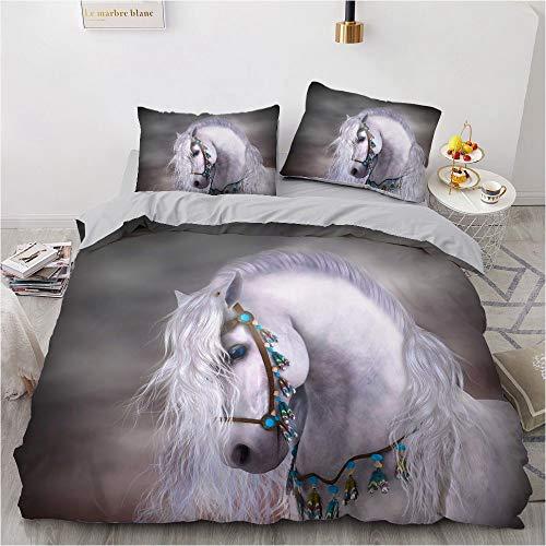 NEWAT Juego de funda de edredón 3D Wild Horses Running Kids Juego de funda de almohada para niños y niñas, diseño de caballo de unicornio (F,135 x 200 cm)