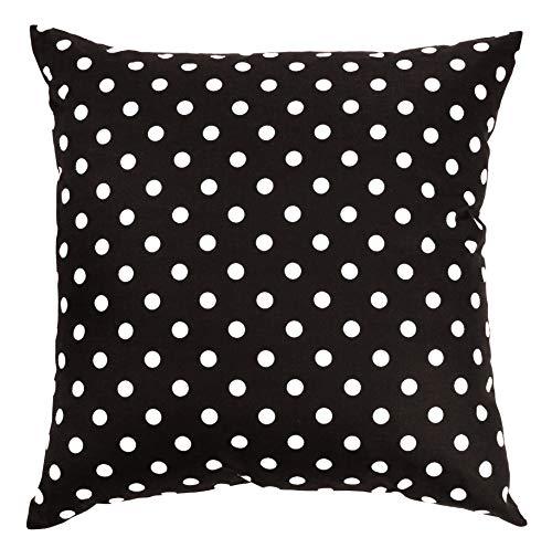Ateena - Funda de cojín de 16 x 16 cm, diseño de lunares, color blanco y negro, 100% algodón, duradero, decorativo, ideal para sala de estar, dormitorio, coche, oficina, 4 unidades